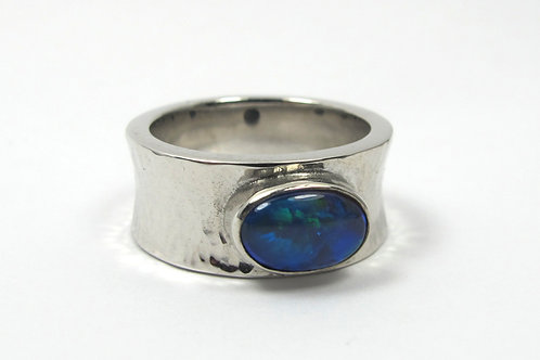 Black Opal Stirling Silver Womens Ring