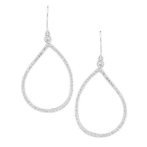 Pear Shaped Cubic Zirconia Drop Earrings - E387