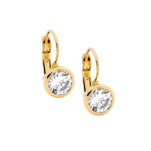 Gold plated with Cubic Zirconia Middle Earrings - SE141g