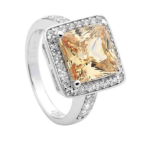 Cubic Zirconia Ring with an Amber Stone - R355CH