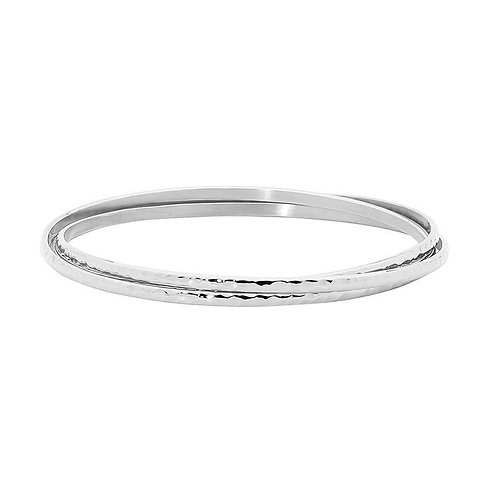 Thin Silver Bangle Set - SB174s