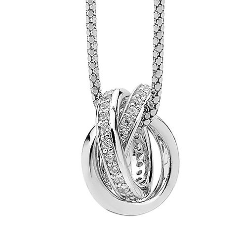 Cubic Zirconia Twisted Knot Pendant - P602W
