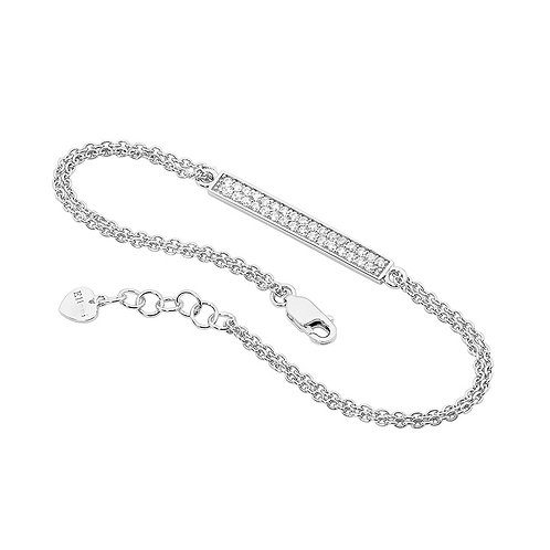 Silver Bracelet with Cubic Zirconia Square - B207