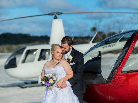 Tammara and Orion Fly to Whitehaven Beach to Get Married