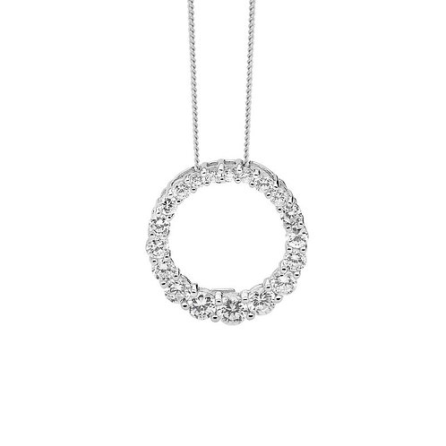 Cubic Zirconia Hollow Circle Pendant - p783-1