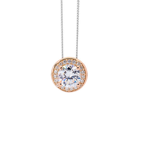 Rose Gold and Silver Cubic Zirconia Pendant - p774rs