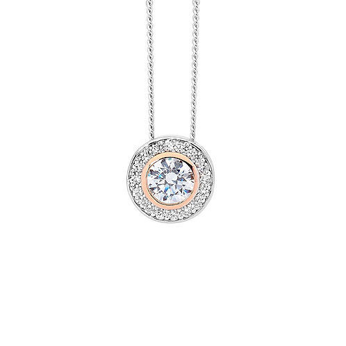 Cubic Zirconia Pendant with Rose Gold Middle - P720RS