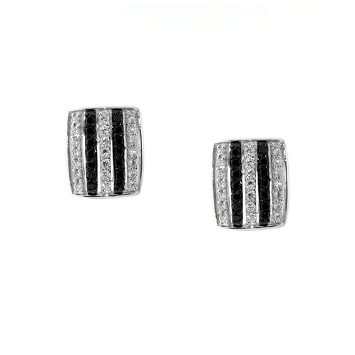Black and Silver Cubic Zirconia Earrings - E194B