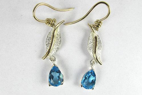 Swiss Blue Pear Shape Topaz 18ct Gold Earrings
