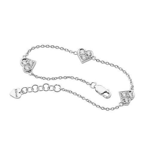 Multiple Heart Cubic Zirconia Charm Bracelet - B2141