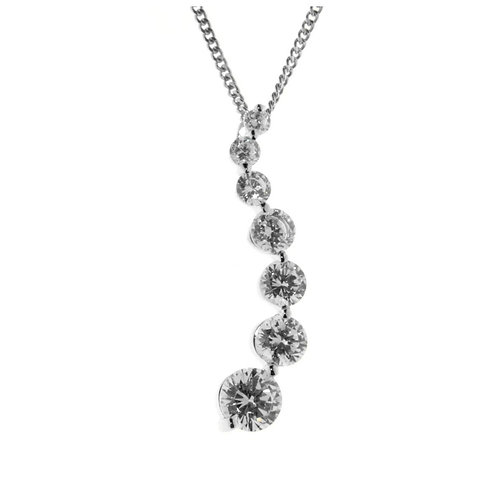 Multiple Cubic Zirconia Drop Necklace - P246