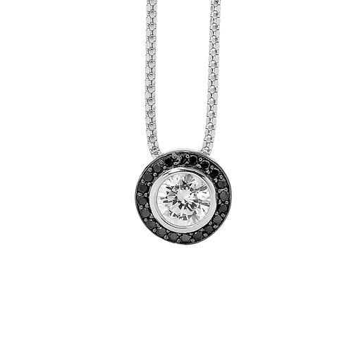 Black Round Cubic Zirconia Necklace - P470BW