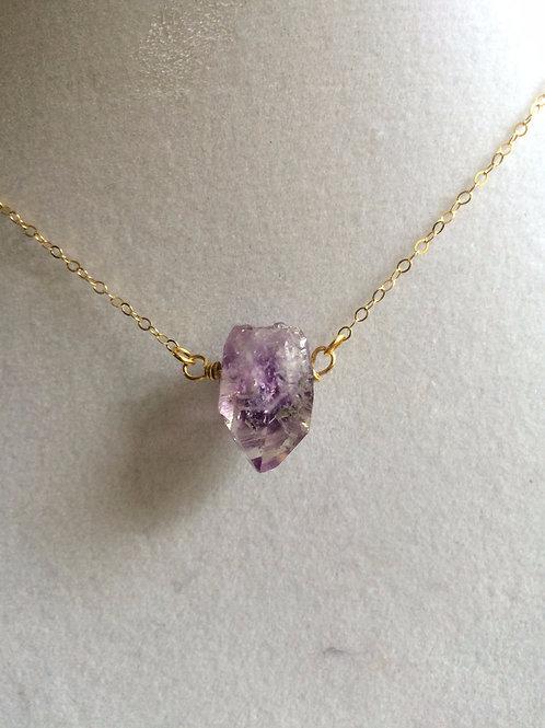 golden amethyst crystal necklace