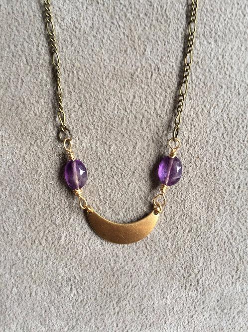 amethyst crescent moon necklace