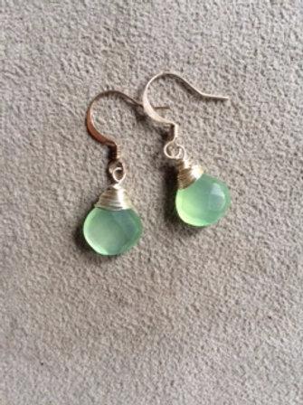 silver green chalcedony earrings