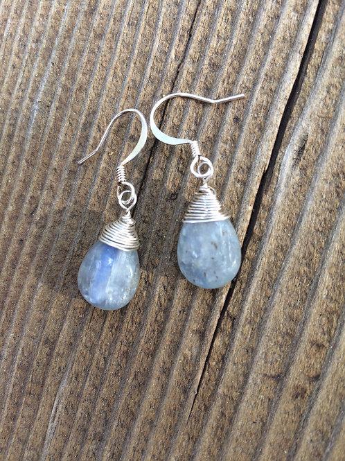 silver kyanite earrings