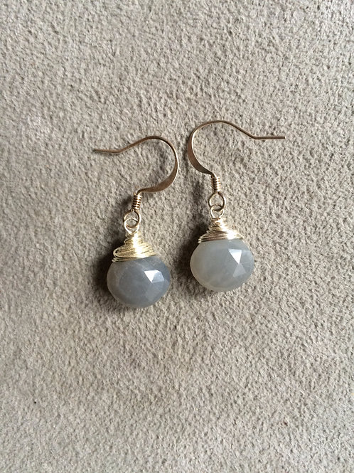 silver gray moonstone earrings