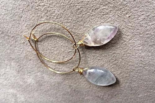 golden fluorite hoop earrings