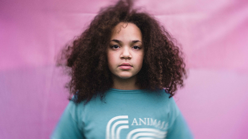 Pink and blue portrait of a girl