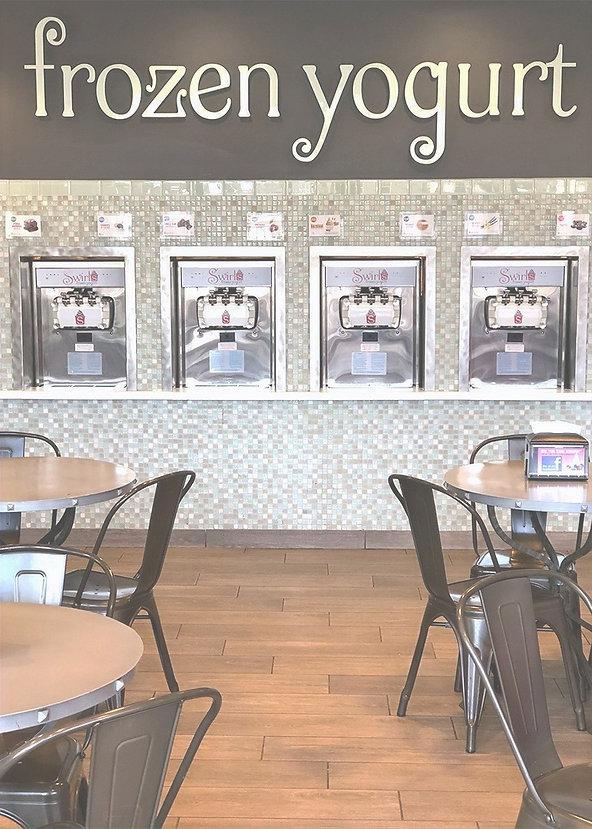 Swirls Frozen Yogurt Store located in Parker Station near Dough Dreamery