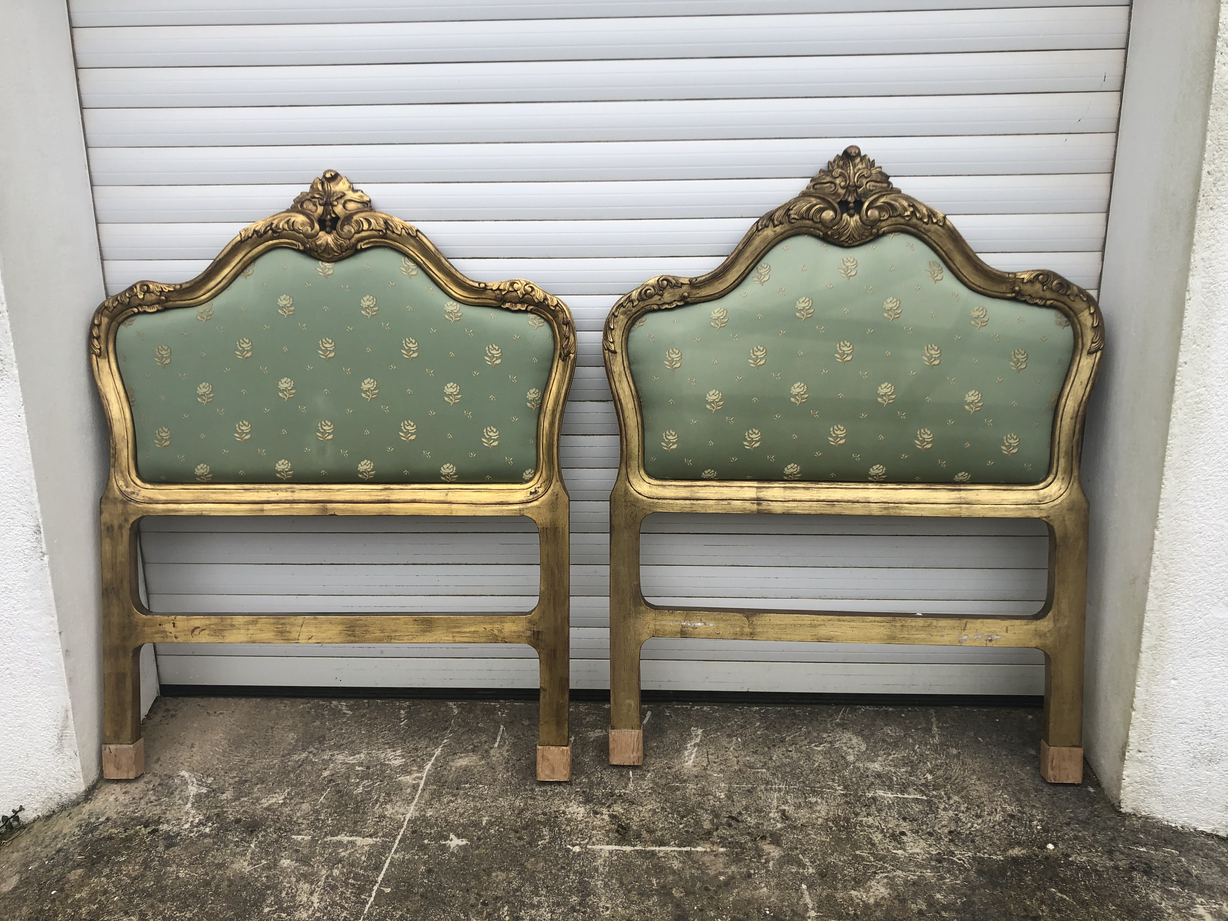 Lovely Pair Repro French Gilt Single Beds