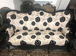 Large Three Seater French Ebonised Sofa