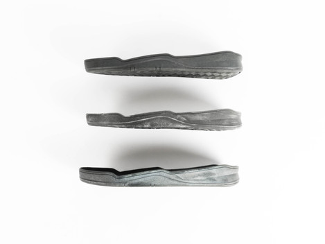 Sole Alternates (side) Black, Scuffed, Distressed.