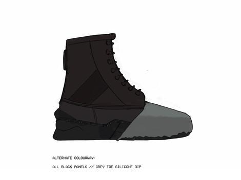 Black // Black - Grey Silicon Toe Dip