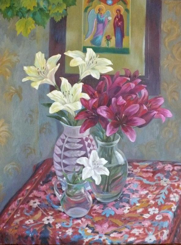 Богородичный цветок х/м