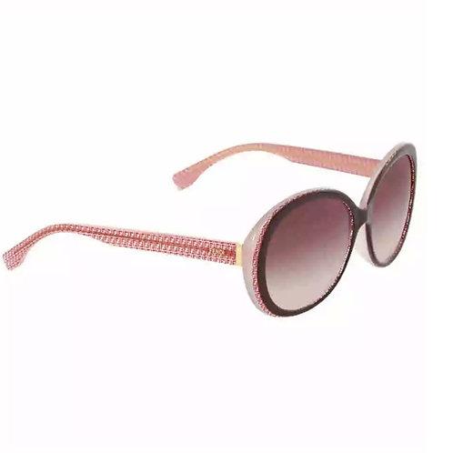 Fendi Micrologo Black Burgundy Crystal Round Asia Fit Sunglasses