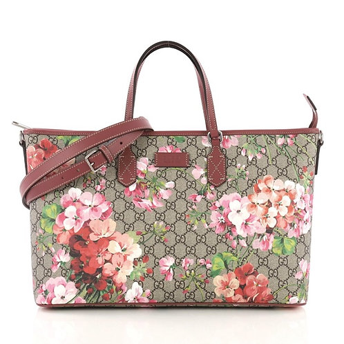 Gucci Convertible Zip Tote Blooms Print GG Coated Canvas Large
