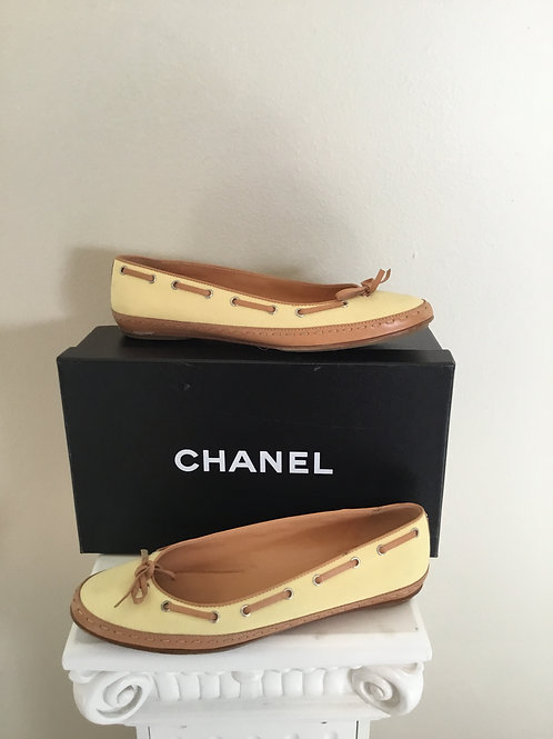 Chanel Yellow Canvas Tan Leather Trim Round Toe Flats with Bow
