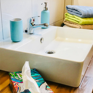 Newly refurbished bathroom with towels for our guests