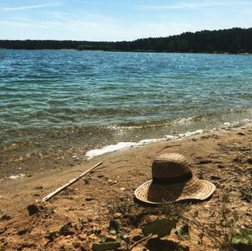 Summer atmosphere at lake Lhota