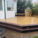 Deck with wrap-around stairs
