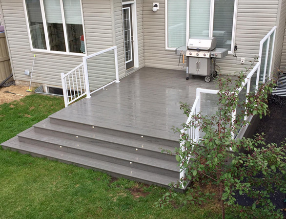 LED lighting on deck stairs