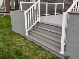 Deck stairs with lights