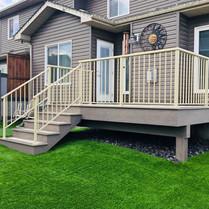 PVC deck with almond railing