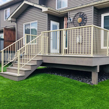 PVC deck with almond railing