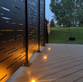 Privacy wall lit up at night