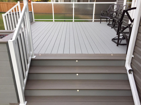 LED lights on deck stairs