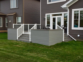 PVC deck with planter boxes