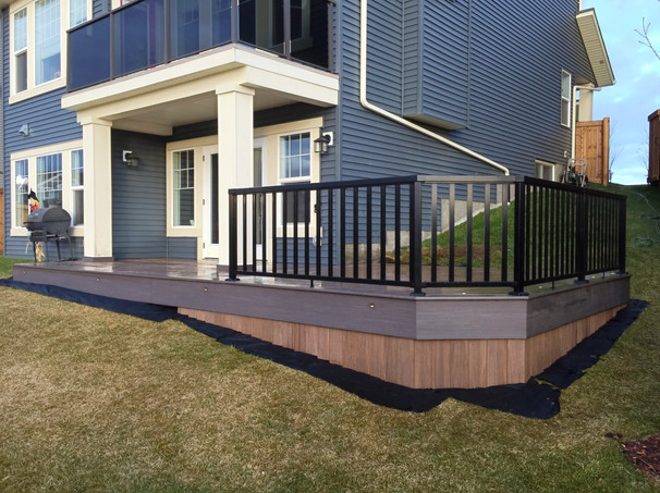 Lower deck with black railing