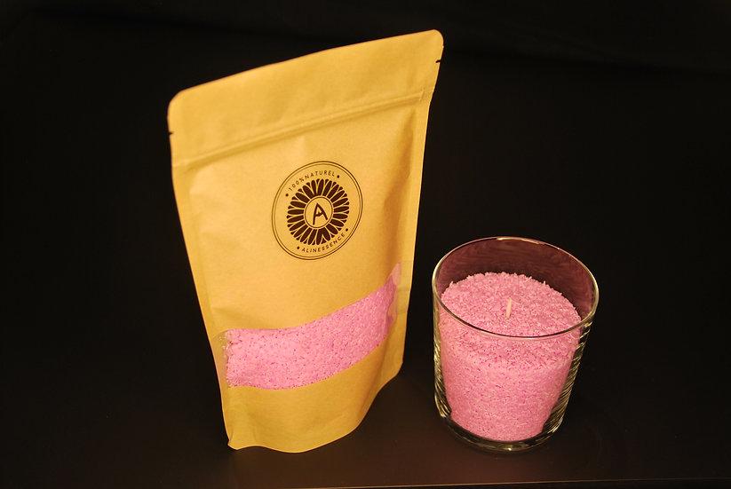 Kit bougie : flocons de cire rose