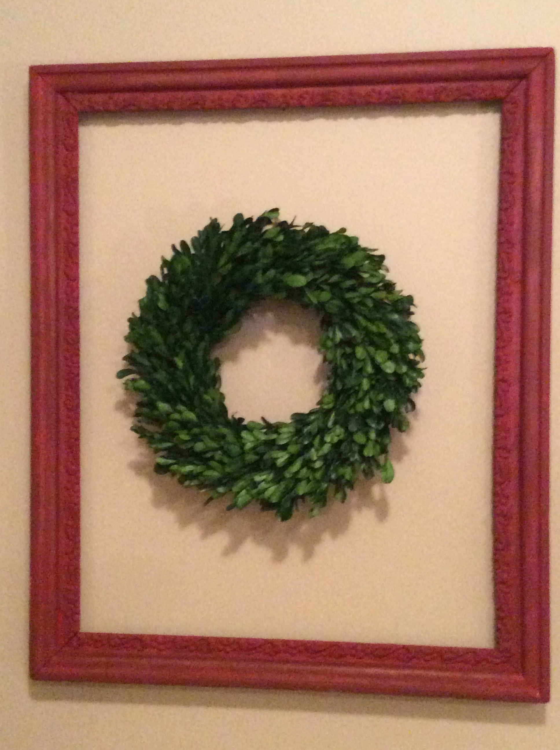 Wreath in painted frame
