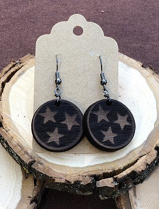 Tristar Dangle Wooden Earrings