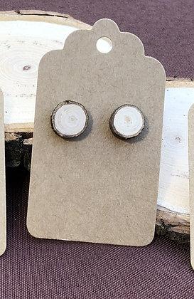 Circle Stud Wooden Earrings