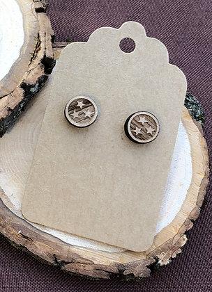 Tristar Stud Wooden Earrings