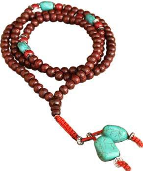 Redwood & Turquoise Japmala Beads