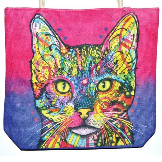 Cat Jute Tote Bag